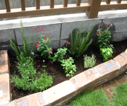お庭作りをさせて頂いたお客様のところにも、ハーブコーナーを作りました。収穫が楽しみです。