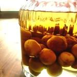 実家で収穫した梅で作った梅酒。完成が楽しみ。