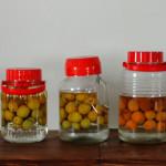 今年の梅酒。一番右はご近所で頂いた杏で作った杏酒です。