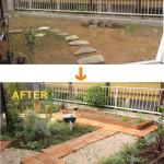枕木で囲ってあるのは家庭菜園スペース。ハーブも多く使っています。